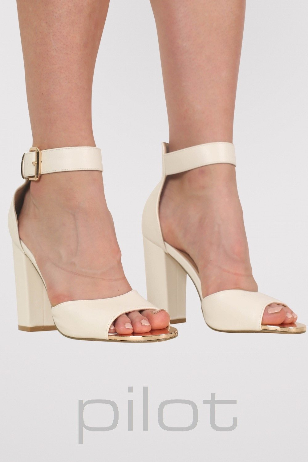 Gold Plate Block Heel Sandals in White MODEL FRONT