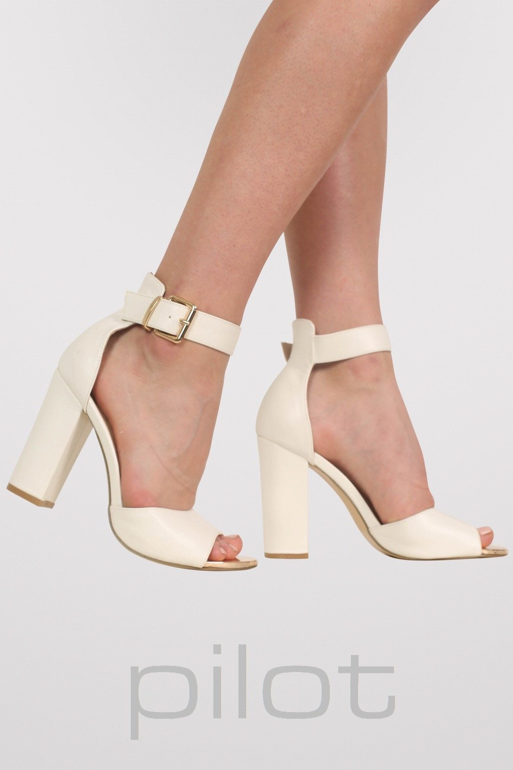 Gold Plate Block Heel Sandals in White MODEL SIDE
