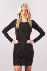 Christina Long Sleeve Lurex Cowl Back Bodycon Dress in Black MODEL FRONT 2