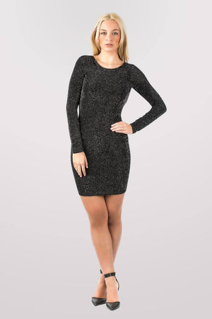 Long Sleeve Lurex Cowl Back Bodycon Dress in Black MODEL FRONT 2
