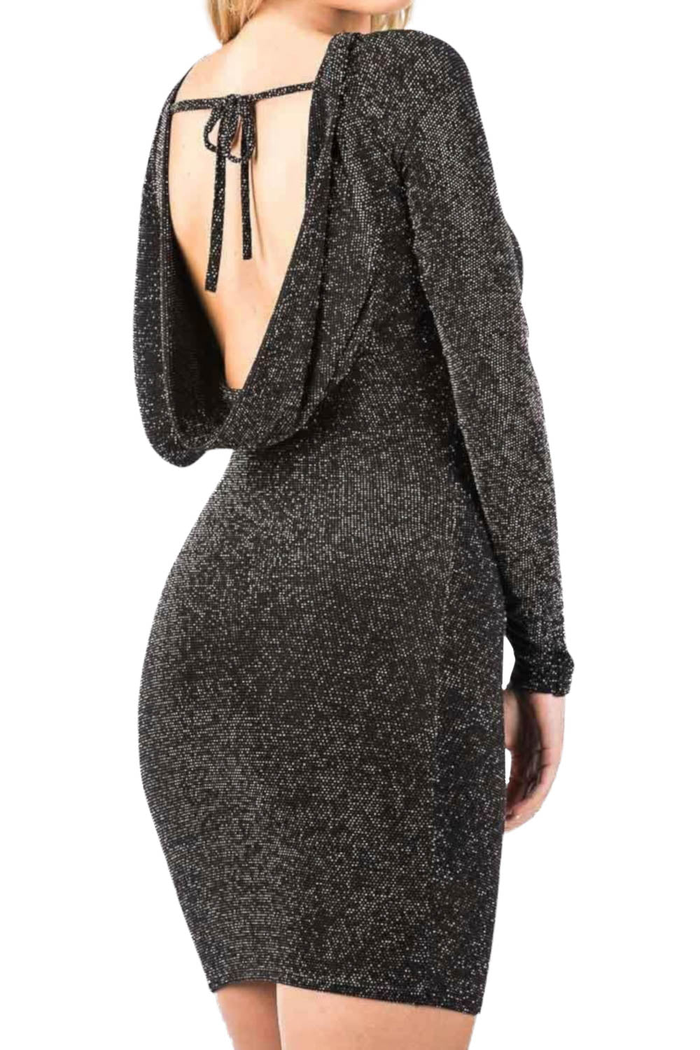 Long Sleeve Lurex Cowl Back Bodycon Dress in Black