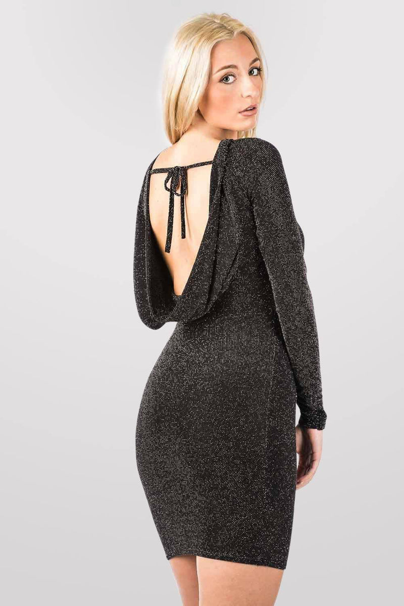 Long Sleeve Lurex Cowl Back Bodycon Dress in Black MODEL BACK