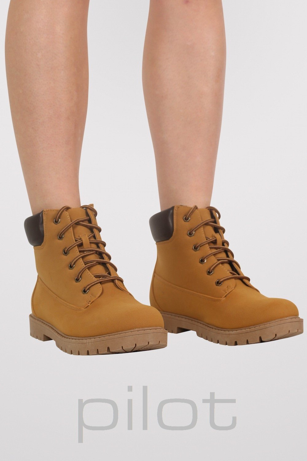 Lace Up Chukka Boots in Mustard Yellow MODEL FRONT