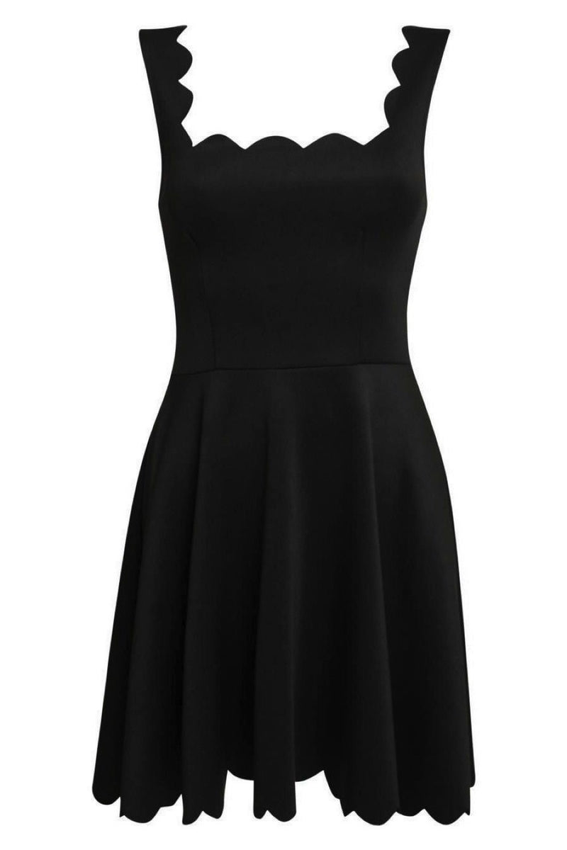 Scallop Edge Skater Dress in Black FRONT