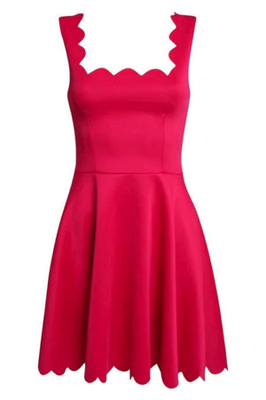 Scallop Edge Skater Dress in Cerise Pink FRONT