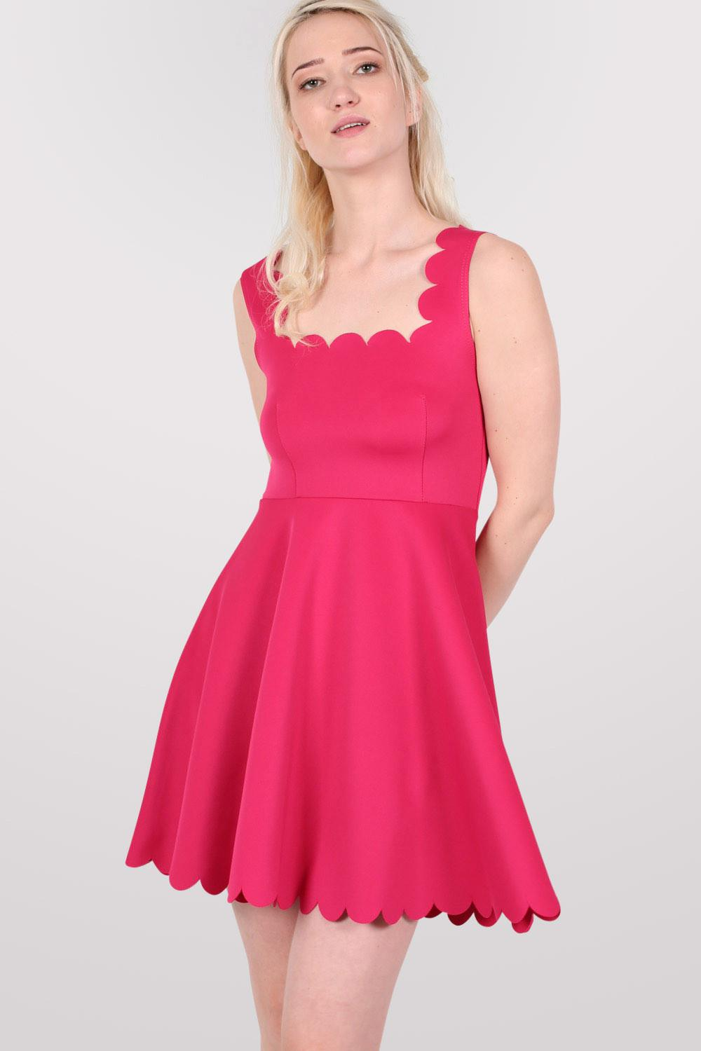 Scallop Edge Skater Dress in Cerise Pink MODEL FRONT