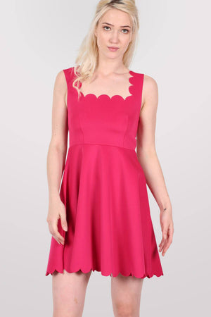 Scallop Edge Skater Dress in Cerise Pink MODEL FRONT 2