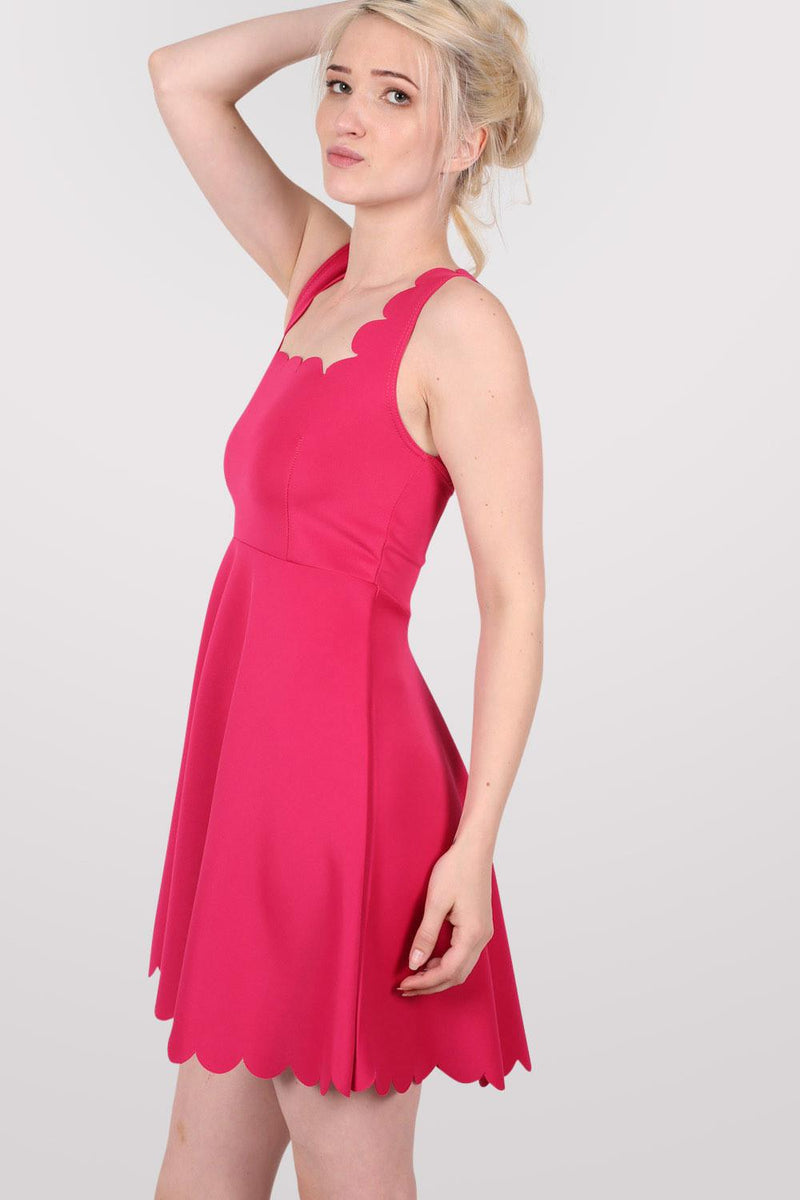 Scallop Edge Skater Dress in Cerise Pink MODEL SIDE