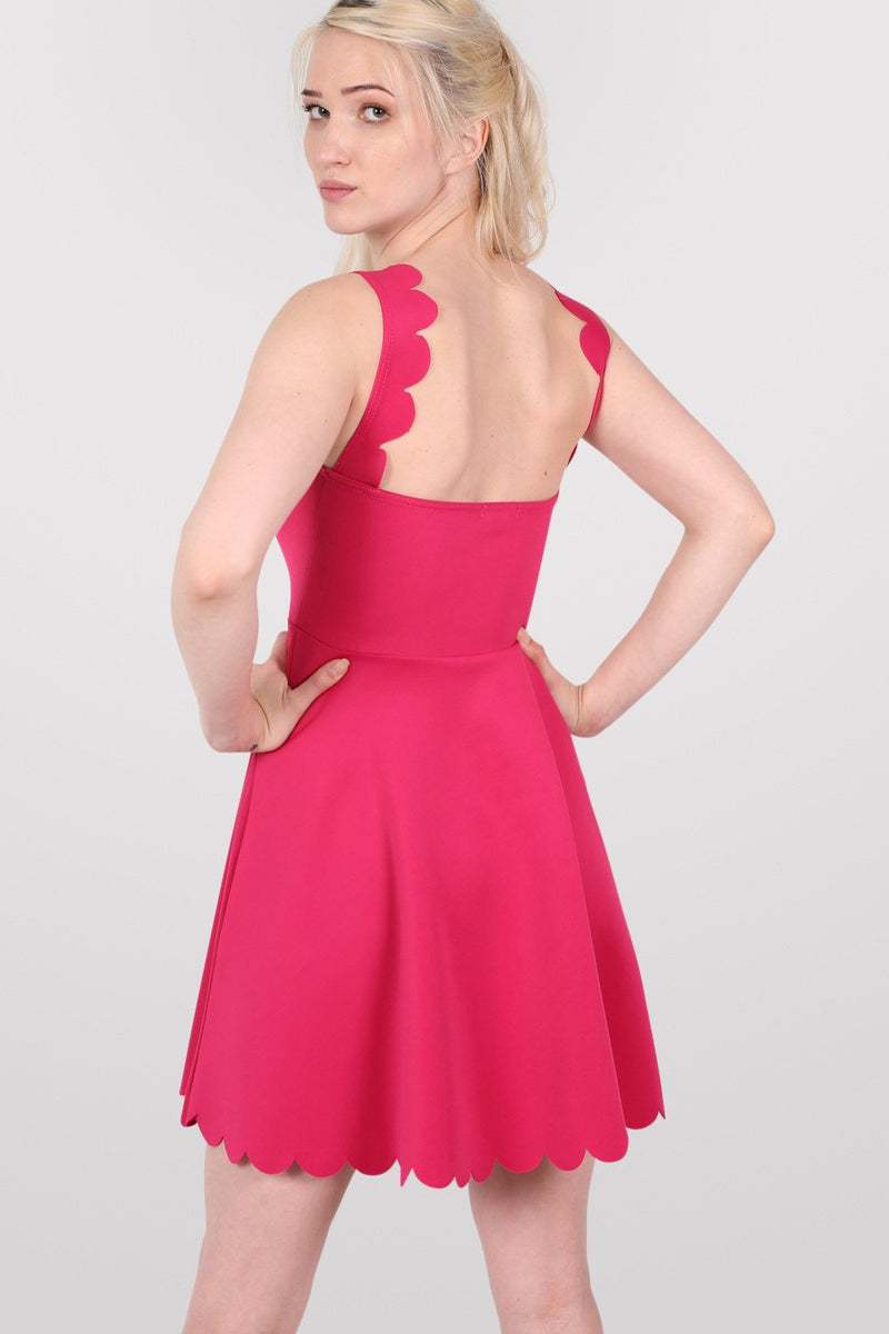 Scallop Edge Skater Dress in Cerise Pink MODEL BACK