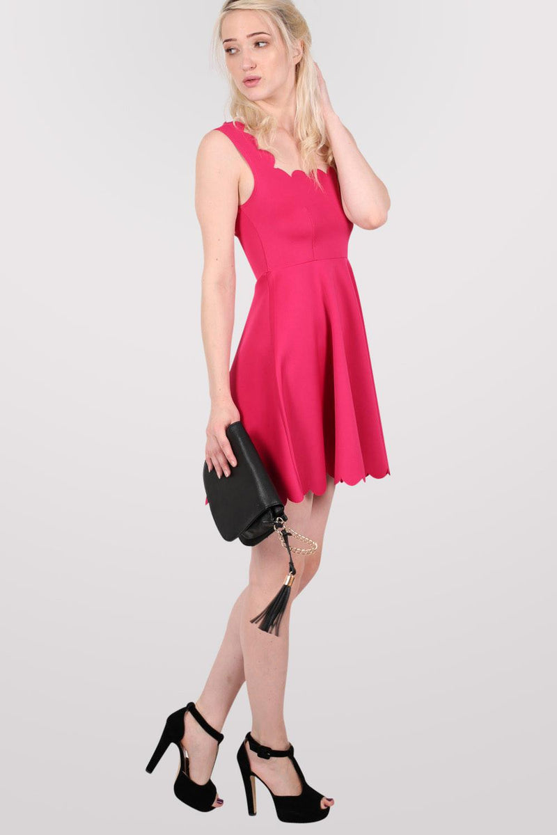 Scallop Edge Skater Dress in Cerise Pink MODEL FRONT 3