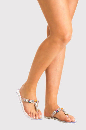 Jewel Strap Jelly Sandals in Transparent 1