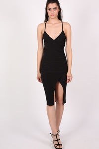 Wrap Front Strappy Bodycon Dress in Black MODEL FRONT 2