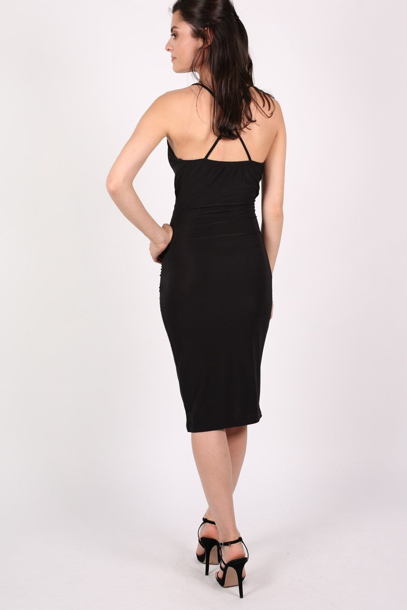 Wrap Front Strappy Bodycon Dress in Black MODEL BACK