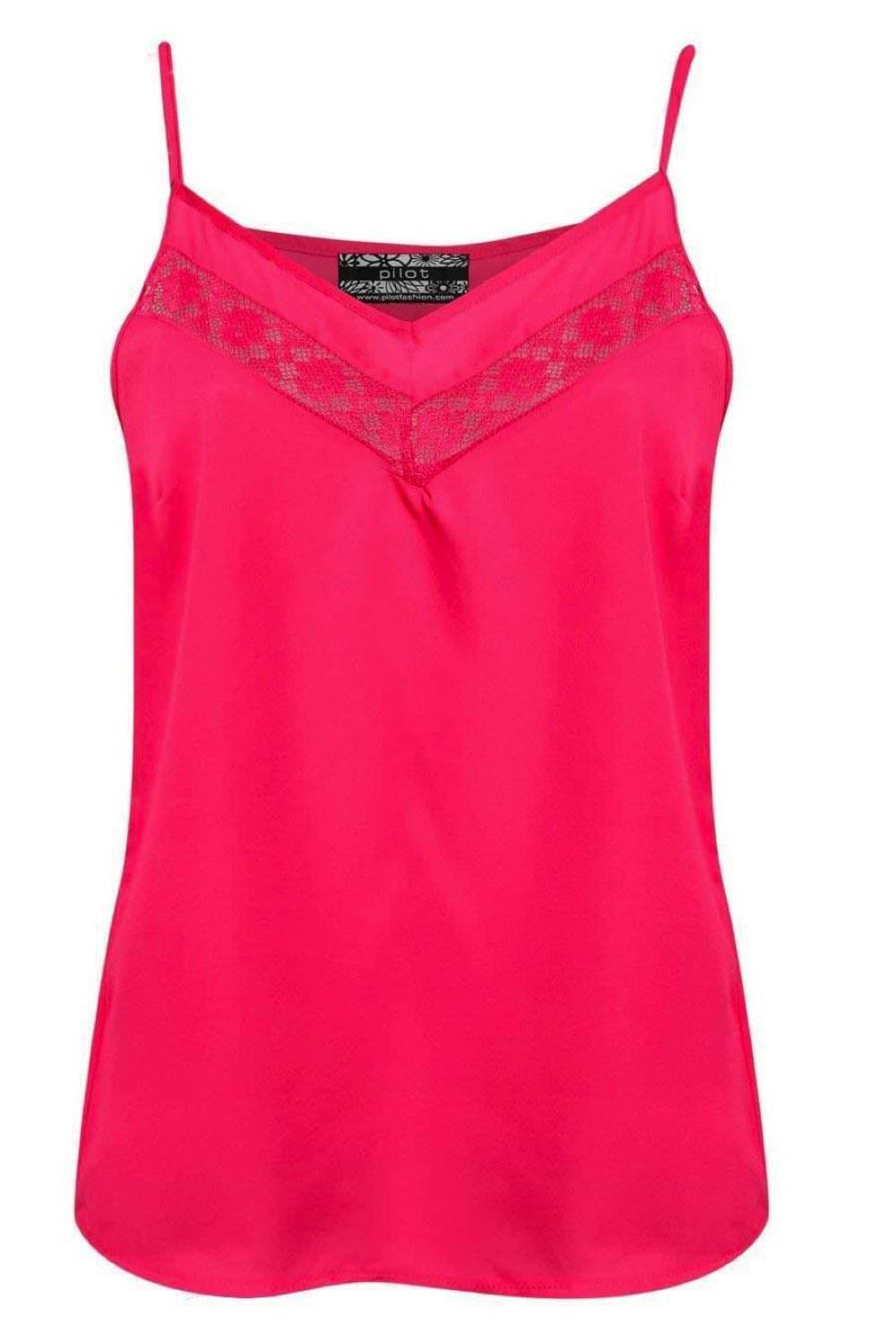 Lace Trim Cami Top in Fuchsia Pink FRONT