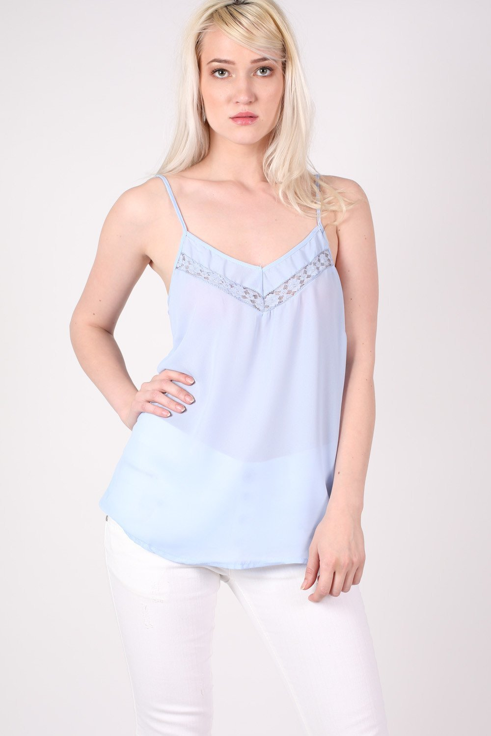 Lace Trim Cami Top in Dusty Blue MODEL FRONT