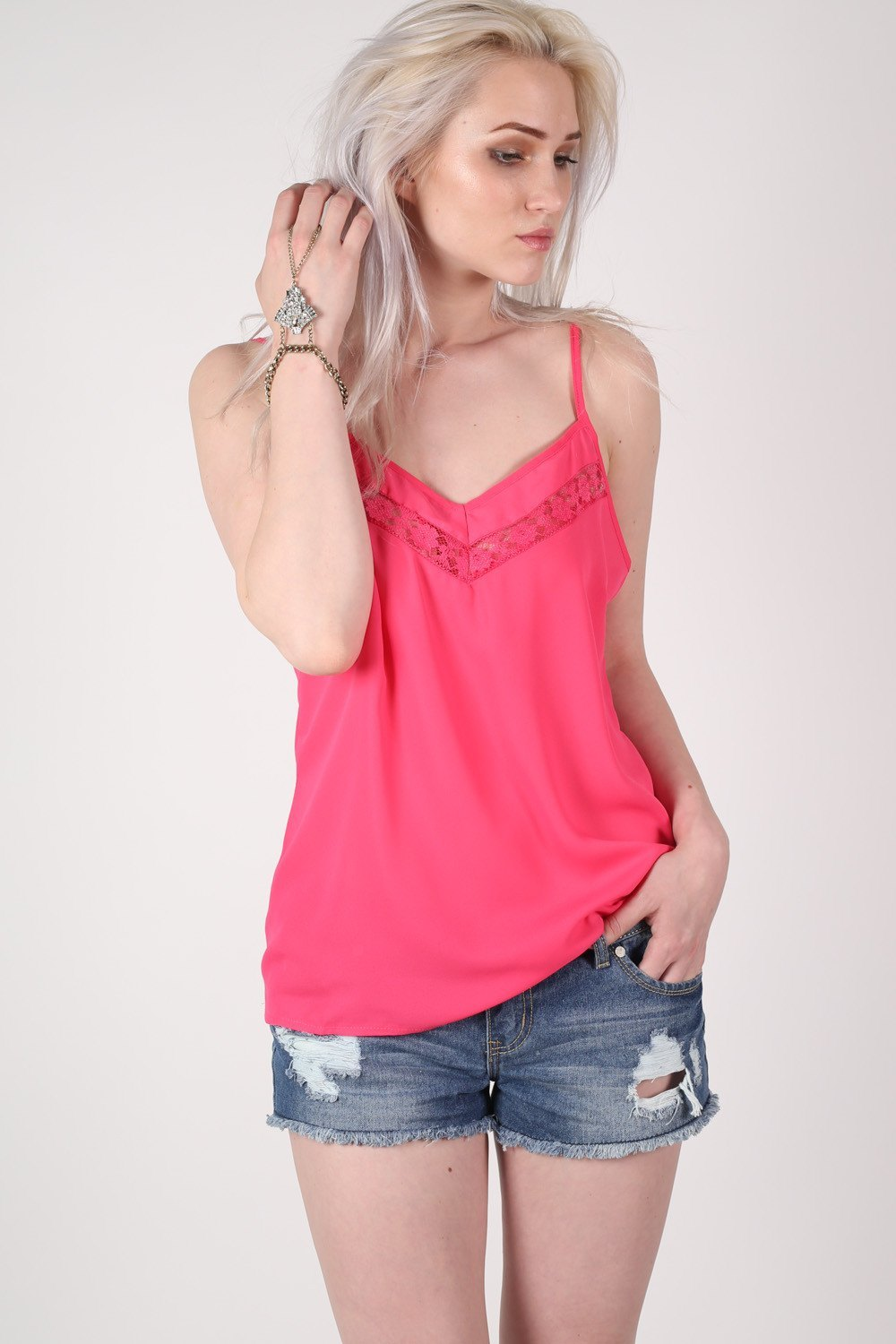 Lace Trim Cami Top in Fuchsia Pink  MODEL FRONT