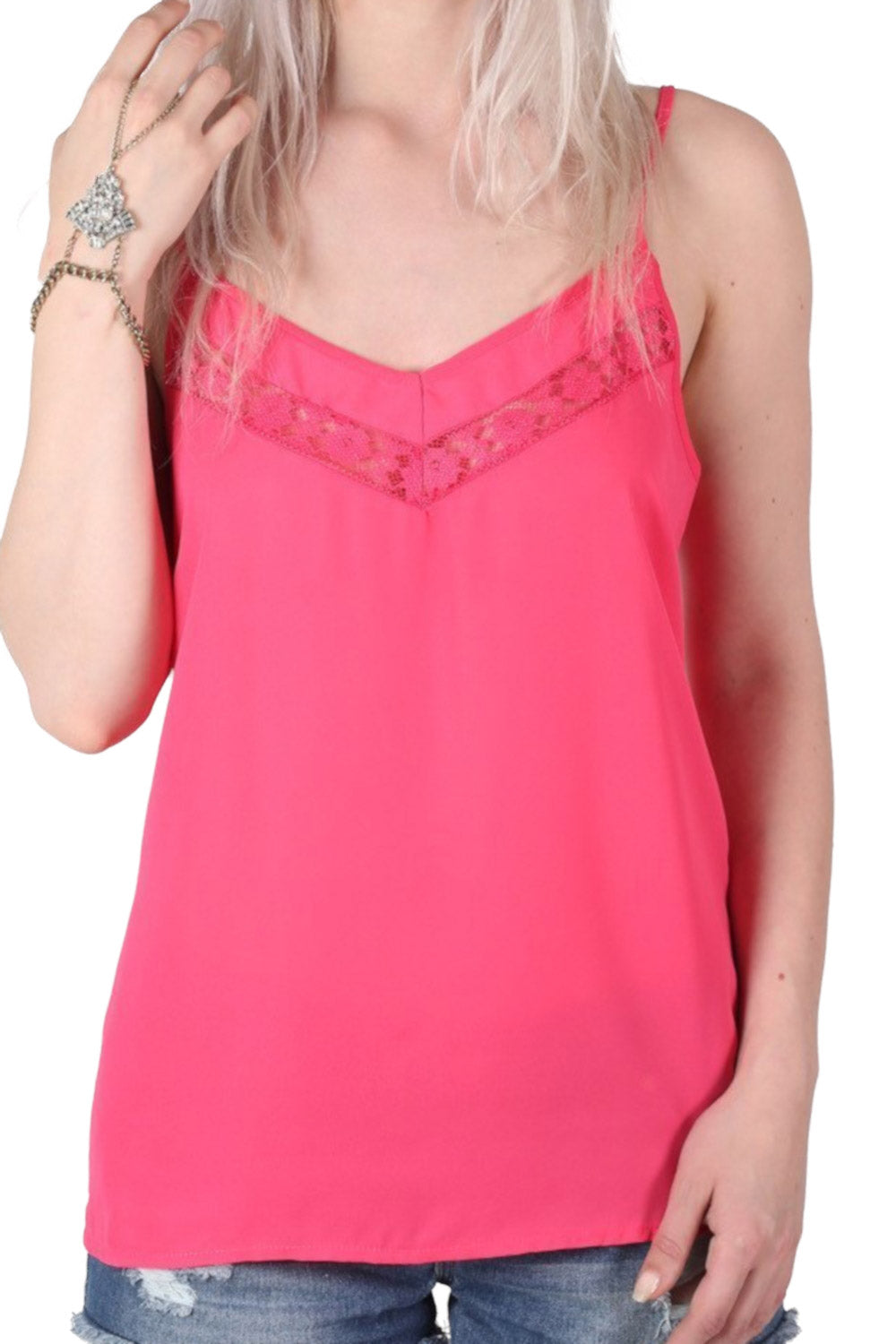 Lace Trim Cami Top in Fuchsia Pink