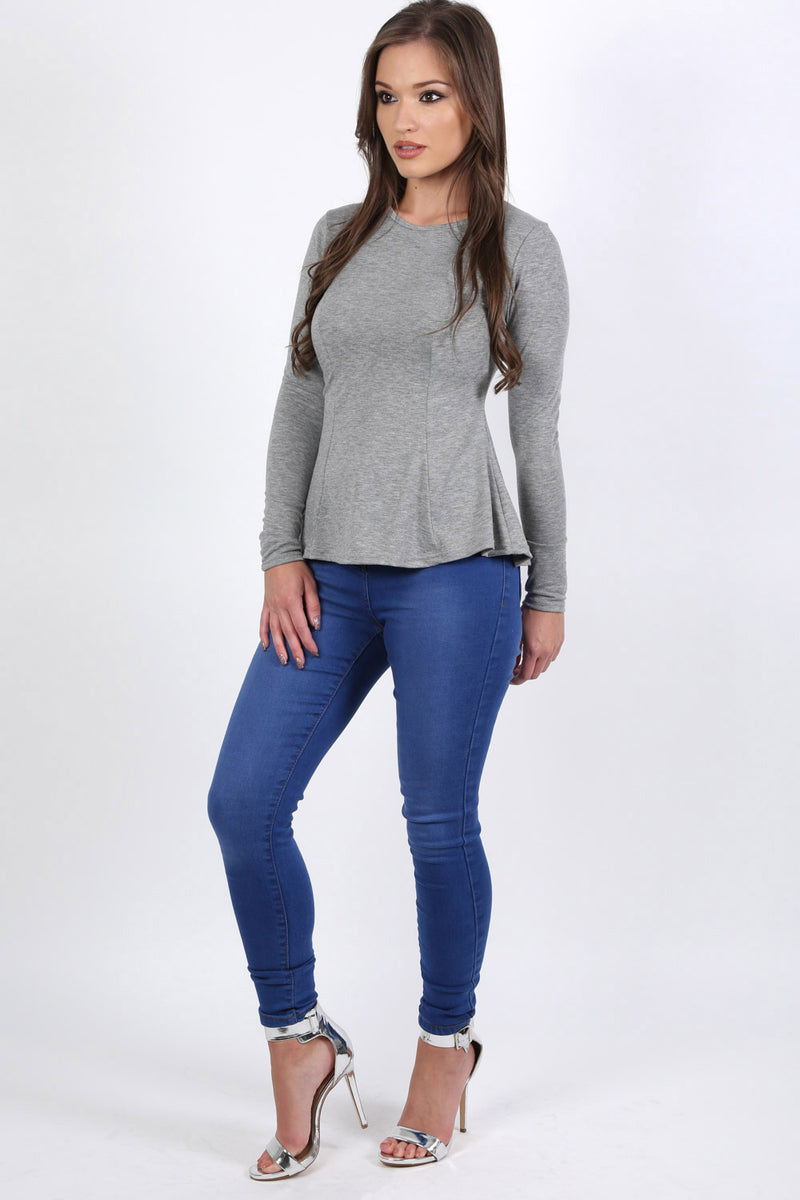 Scoop Neck Long Sleeve Peplum Top in Grey 3