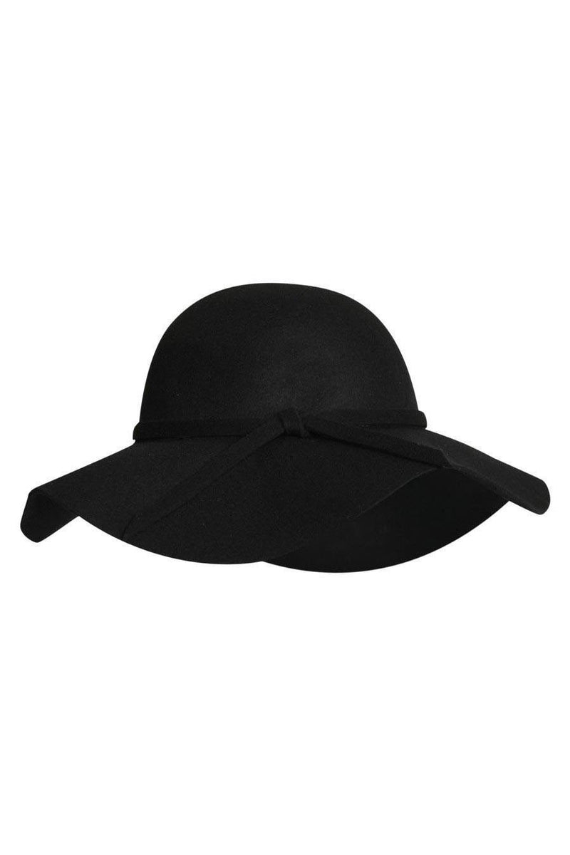 Karina Wool Floppy Hat in Black FRONT