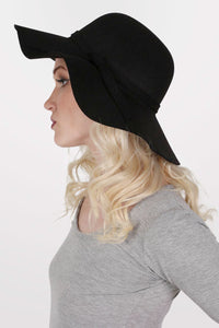 Wool Floppy Hat in Black MODEL SIDE