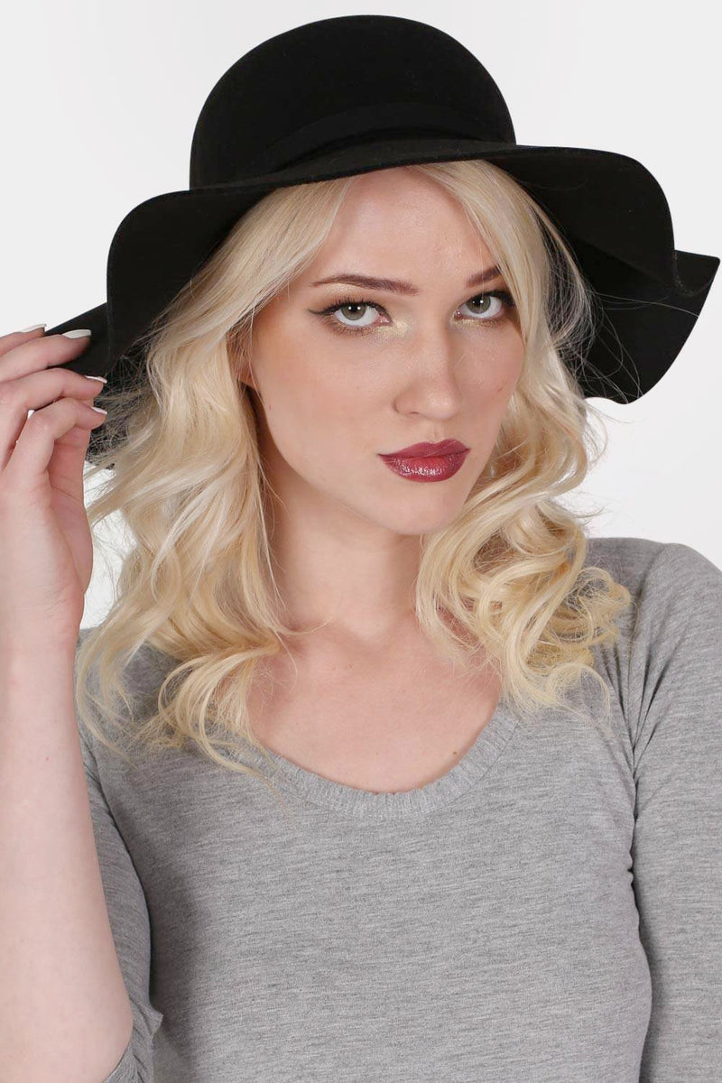 Wool Floppy Hat in Black MODEL FRONT 2