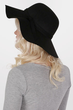 Wool Floppy Hat in Black MODEL BACK
