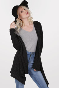 Wool Floppy Hat in Black MODEL FRONT 3