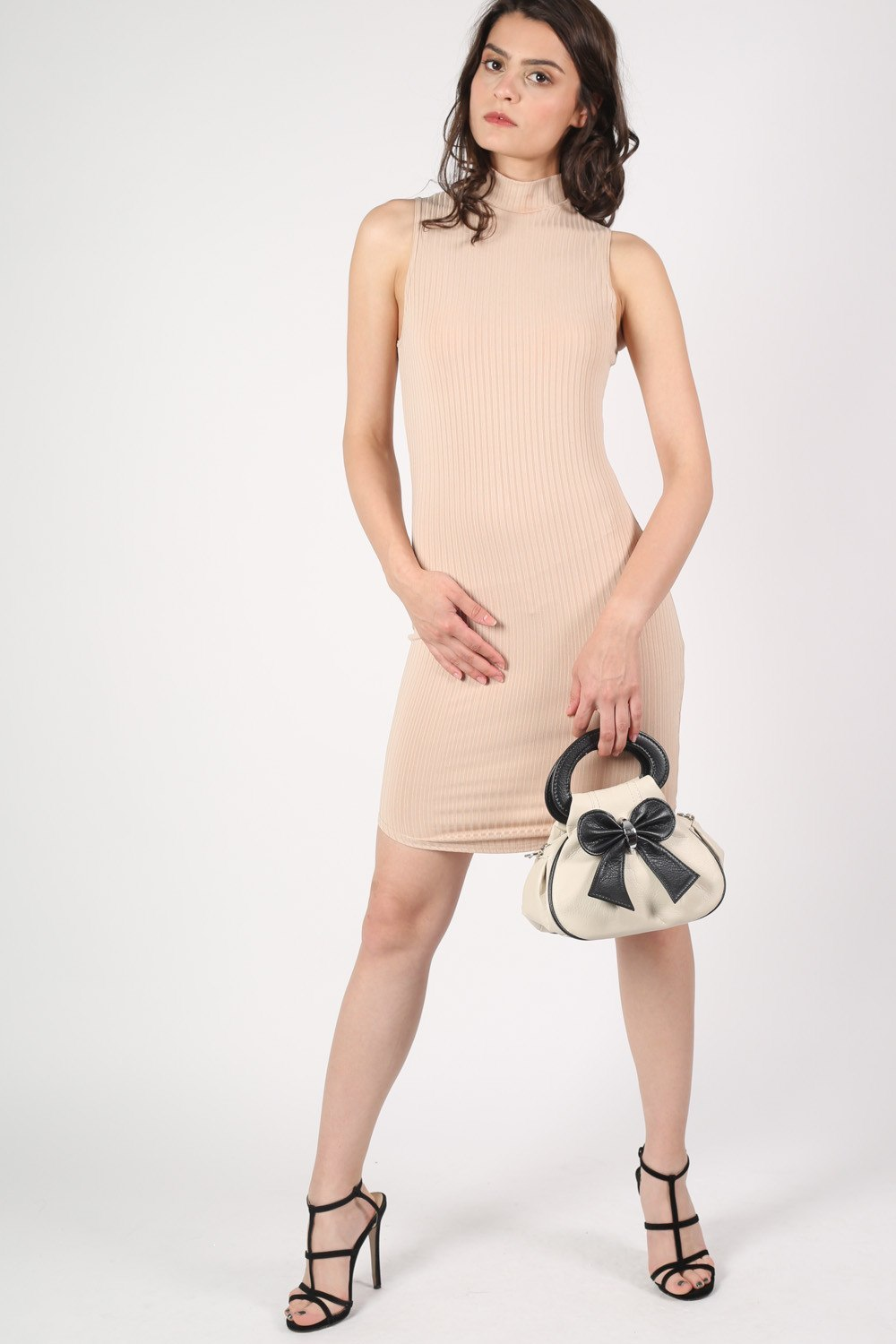 High Neck Sleeveless Rib Bodycon Dress in Camel Brown MODEL FRONT