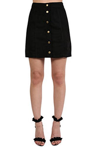 Faux Suede Front Button Mini Skirt in Black
