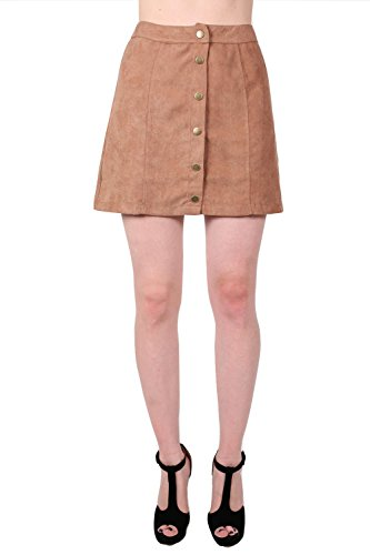 Faux Suede Front Button Mini Skirt in Tan Brown