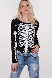 Skeleton Bodysuit in Black MODEL FRONT