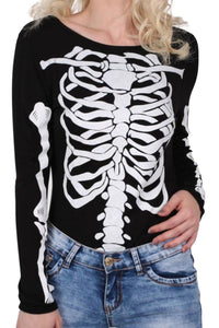 Halloween Skeleton Bodysuit in Black