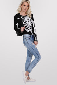 Skeleton Bodysuit in Black MODEL SIDE 2