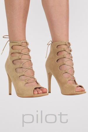 Lace Up High Heel Shoes in Stone MODEL FRONT