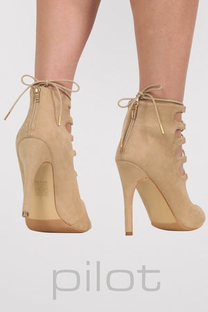 Lace Up High Heel Shoes in Stone MODEL BACK