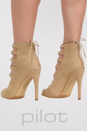 Lace Up High Heel Shoes in Stone MODEL BACK 2