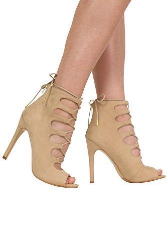 Lace Up High Heel Shoes in Stone