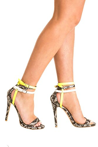 Multi Ankle Strap High Heel Snake Print Sandals in Grey