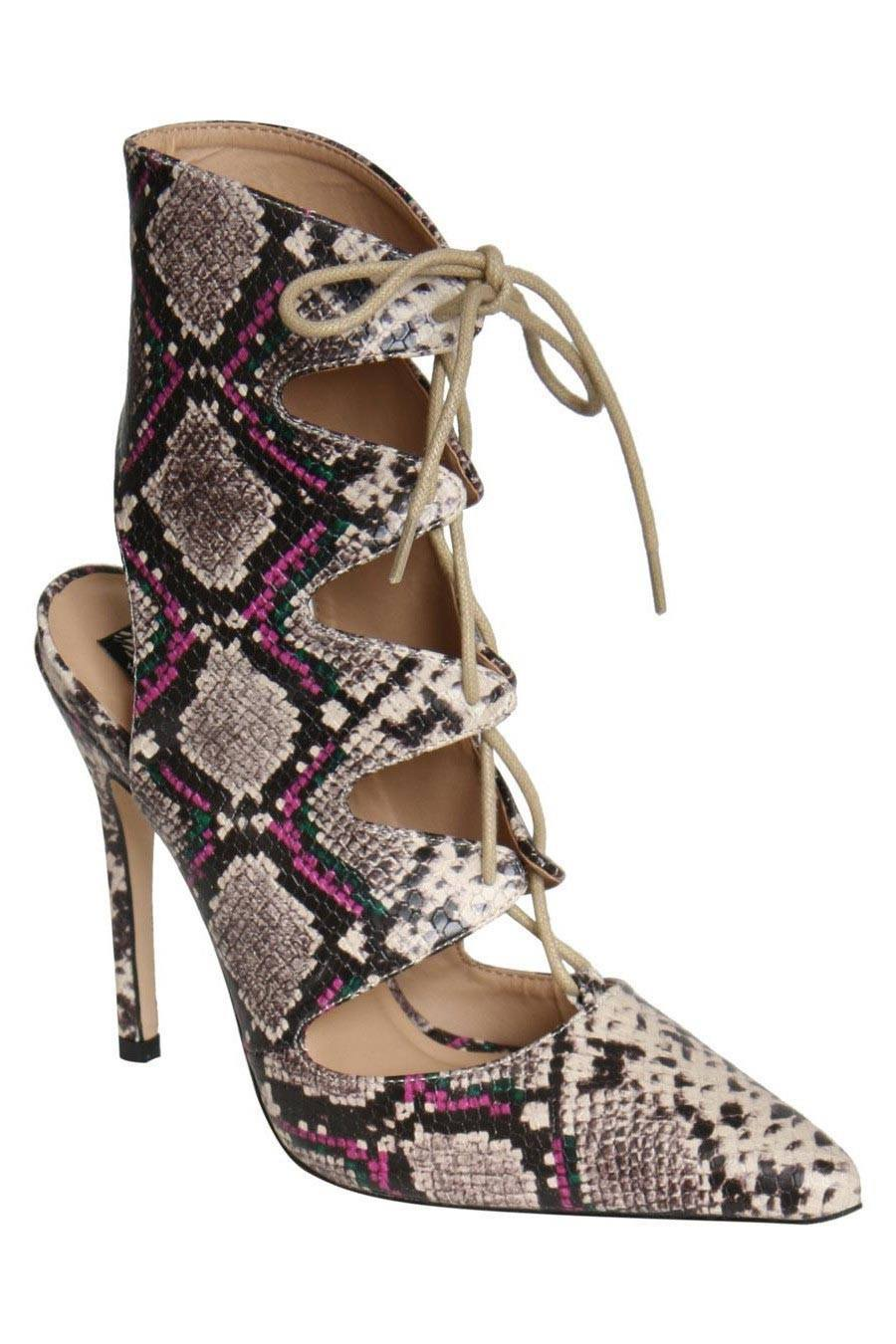 Abbie Lace Up High Heel Snake Print Shoes in Brown FRONT