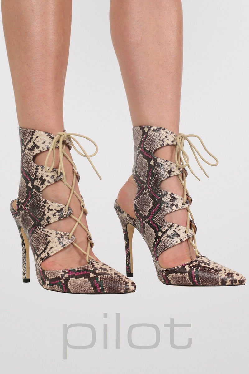 Lace Up High Heel Snake Print Shoes in Brown MODEL FRONT