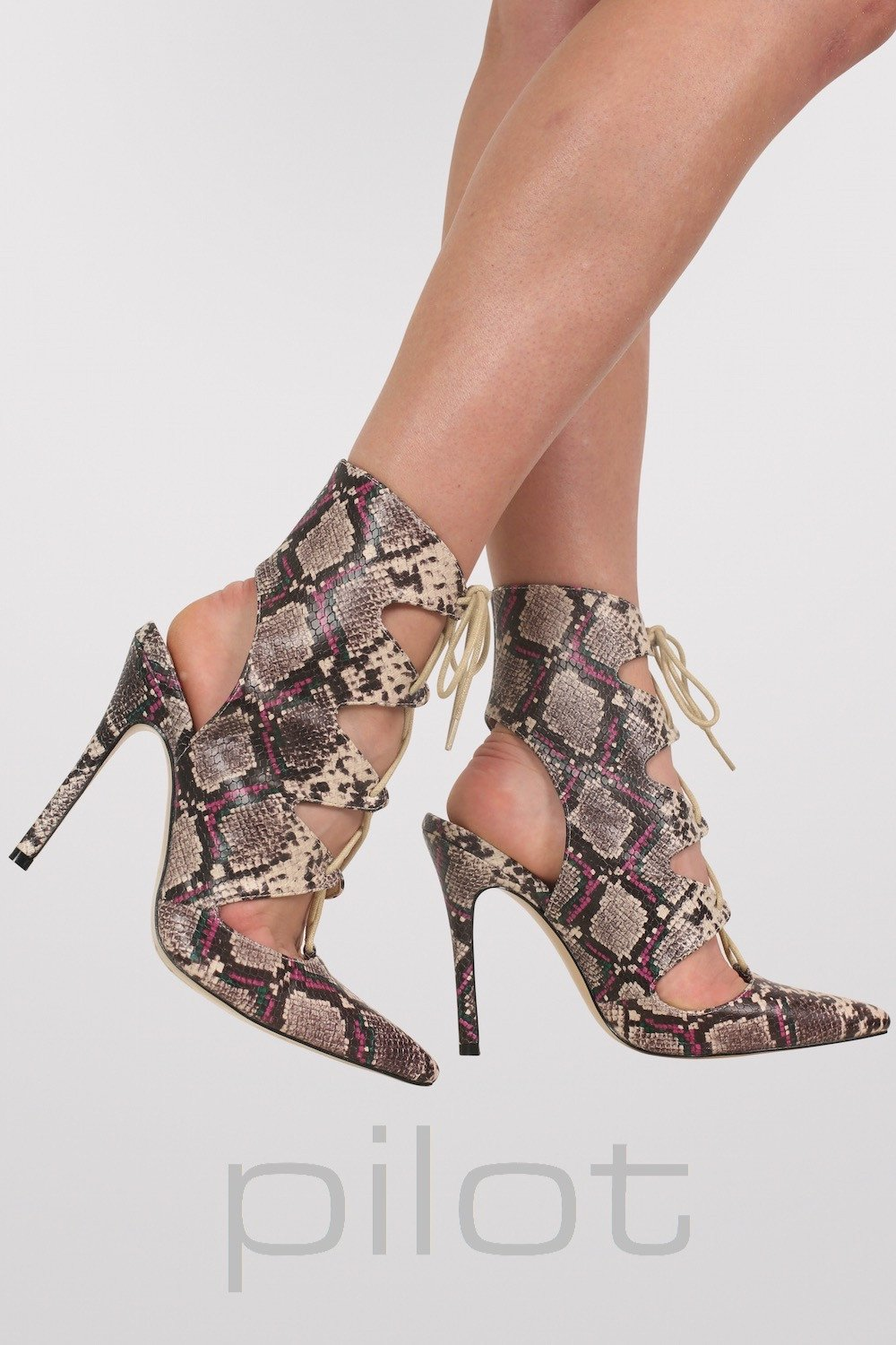 Lace Up High Heel Snake Print Shoes in Brown MODEL SIDE