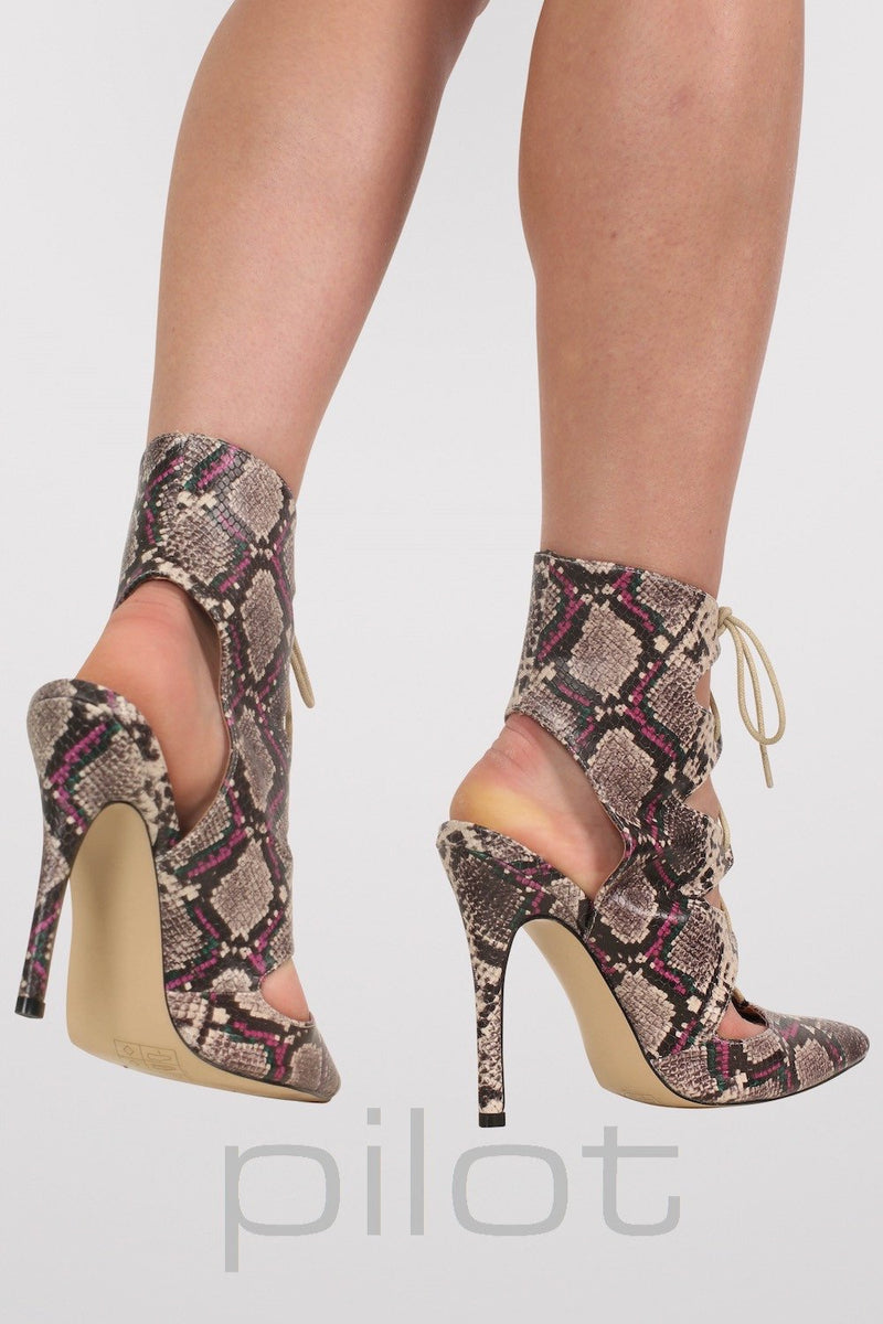 Lace Up High Heel Snake Print Shoes in Brown MODEL BACK