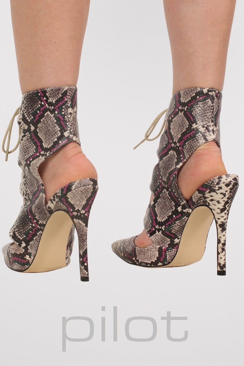 Lace Up High Heel Snake Print Shoes in Brown MODEL BACK 2