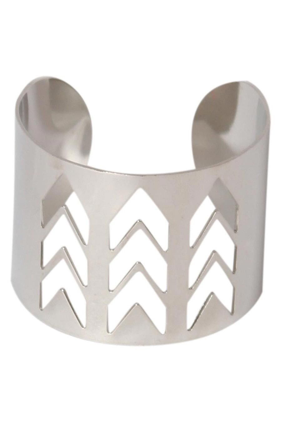 Malia Chevron Cut Out Cuff Bracelet in Silver FRONT