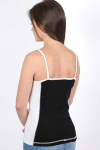 Activewear Panel Vest Top in Black 2