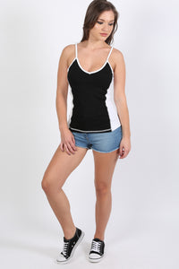 Activewear Panel Vest Top in Black 3