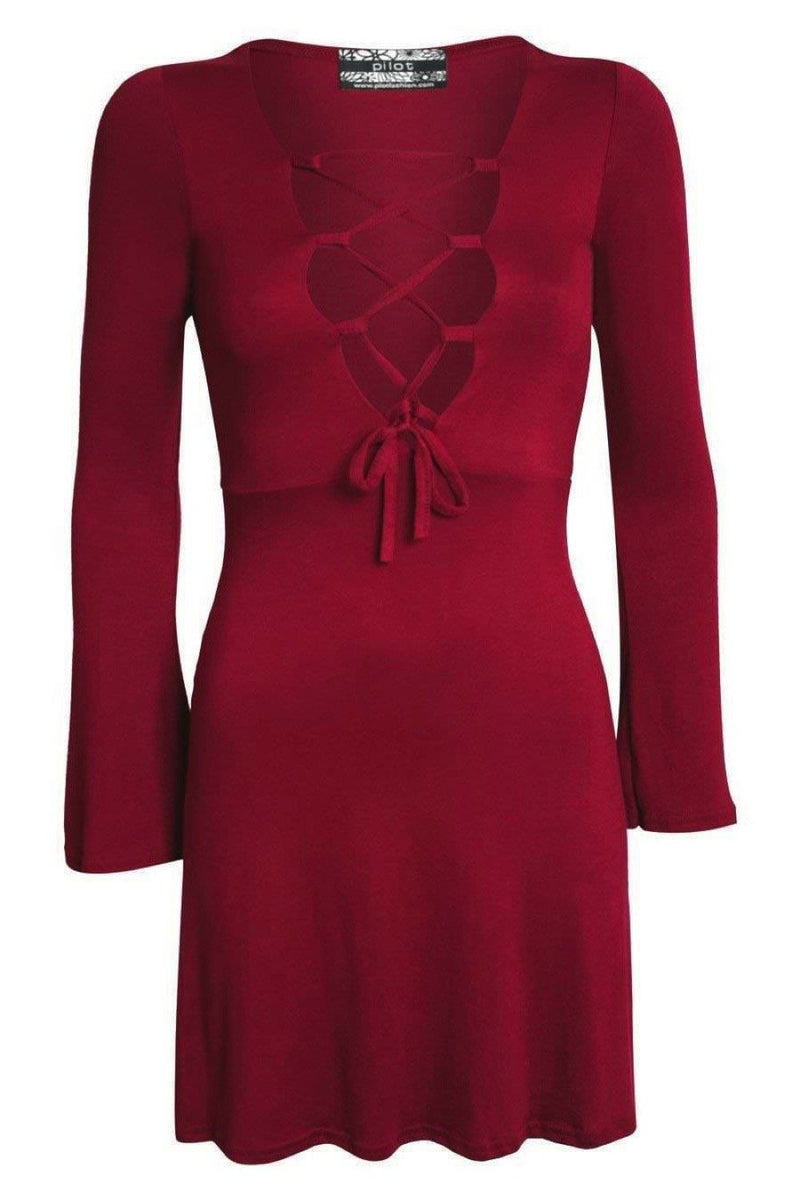Bell Sleeve Lace Up Front Fit Flare Dress in Wine Red FRONT