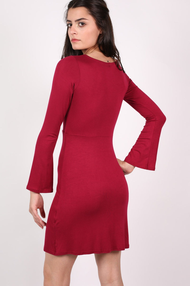 Bell Sleeve Lace Up Front Fit Flare Dress in Wine Red MODEL BACK