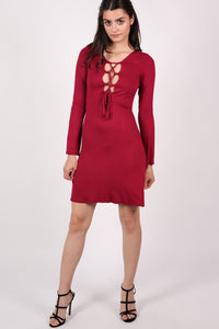 Bell Sleeve Lace Up Front Fit Flare Dress in Wine Red MODEL FRONT 2