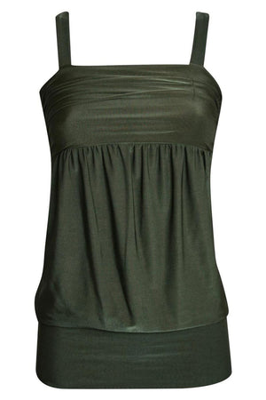 Kaitlyn Wide Hem Strappy Top in Khaki Green FRONT